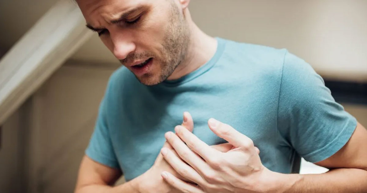 Costochondritis is a benign form of chest pain, in which pain arises from inflammation of joints between the ribs and the breast bone at the front of the chest.